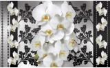 Fotobehang Bloemen, Orchideeën | Wit, Grijs | 152,5x104cm