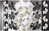 Fotobehang Vlies   Bloemen, Orchideeën   Wit, Grijs   368x254cm (bxh)
