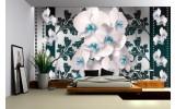 Fotobehang Bloemen, Orchideeën | Turquoise, Wit | 312x219cm