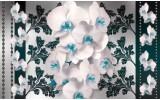 Fotobehang Vlies | Bloemen, Orchideeën | Turquoise, Wit | 368x254cm (bxh)