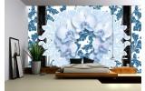 Fotobehang Papier Bloemen, Orchideeën | Blauw | 368x254cm