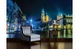Fotobehang Stad | Grijs, Groen | 104x70,5cm
