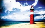 Fotobehang Vlies | Vuurtoren, Strand | Rood | 368x254cm (bxh)