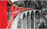 Fotobehang Brug, Trein | Rood | 104x70,5cm
