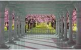 Fotobehang Bomen | Roze, Groen | 312x219cm