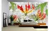 Fotobehang Bloemen | Grijs, Groen | 152,5x104cm