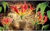 Fotobehang Vlies | Bloemen, Hout | Bruin | 368x254cm (bxh)
