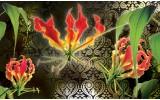 Fotobehang Bloemen | Groen, Rood | 152,5x104cm