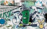 Fotobehang Vlies | Graffiti | Groen, Grijs | 368x254cm (bxh)
