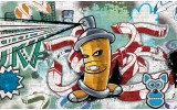 Fotobehang Graffiti | Groen, Blauw | 152,5x104cm