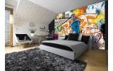 Fotobehang Graffiti | Oranje, Blauw | 208x146cm