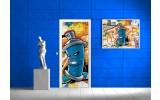 Deursticker Muursticker Graffiti | Blauw | 91x211cm