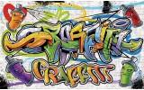 Fotobehang Vlies | Graffiti, Street art | Geel | 368x254cm (bxh)