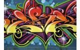 Fotobehang Papier Graffiti, Street art | Blauw | 368x254cm