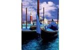 Fotobehang Papier Venetië, Boot | Blauw | 184x254cm
