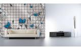 Fotobehang Papier Bloemen, Vlinder | Blauw, Grijs | 368x254cm