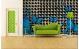 Fotobehang Papier Vlinder | Blauw, Grijs | 368x254cm