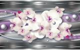 Fotobehang Bloemen, Orchidee | Zilver, Paars | 208x146cm