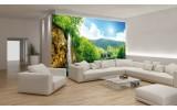 Fotobehang Papier Natuur, Waterval | Groen, Blauw | 254x184cm