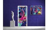 Deursticker Muursticker Graffiti   Blauw, Roze   91x211cm