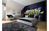 Fotobehang Graffiti | Zwart, Groen | 312x219cm