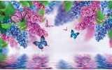 Fotobehang Papier Bloemen | Paars, Blauw | 368x254cm