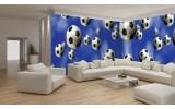Fotobehang Vlies Voetbal | Blauw, Wit | GROOT 832x254cm