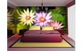 Fotobehang Papier Bloemen | Groen, Paars | 254x184cm