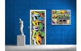 Deursticker Muursticker Graffiti | Groen, Geel | 91x211cm