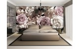 Fotobehang Papier Rozen, Bloemen | Grijs | 254x184cm