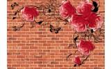 Fotobehang Vlies | Bakstenen, Bloemen | Bruin | 368x254cm (bxh)