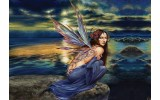Fotobehang Alchemy Gothic, Vrouw | Blauw | 312x219cm