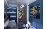 Deursticker Muursticker Vrouw | Blauw, Groen | 91x211cm
