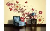 Fotobehang Bloemen | Geel, Rood | 416x254