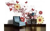 Fotobehang Papier Bloemen | Rood, Wit | 368x254cm