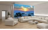 Fotobehang Papier Zee | Blauw, Geel | 254x184cm