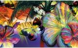 Fotobehang Vlinder, Bloemen | Geel | 208x146cm