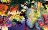 Fotobehang Vlies | Vlinder, Bloemen | Geel | 368x254cm (bxh)