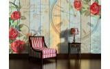 Fotobehang Papier Hout, Bloemen | Rood | 254x184cm