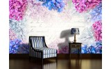 Fotobehang Bloemen | Roze, Blauw | 416x254