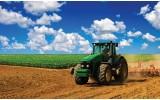 Fotobehang Papier Natuur, Tractor | Blauw | 254x184cm