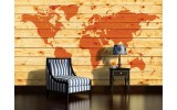 Fotobehang Wereldkaart | Oranje | 152,5x104cm