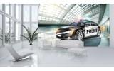 Fotobehang Politieauto | Grijs | 312x219cm