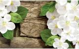 Fotobehang Vlies | Hout, Bloemen | Wit, Groen | 368x254cm (bxh)