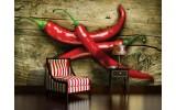 Fotobehang Papier Hout, Paprika | Rood | 254x184cm