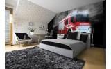 Fotobehang Brandweerauto | Zwart, Rood | 208x146cm