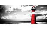 Fotobehang Vuurtoren | Grijs, Rood | 250x104cm