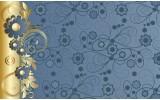 Fotobehang Bloemen | Goud, Blauw | 208x146cm