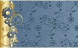 Fotobehang Vlies | Bloemen | Goud, Blauw | 368x254cm (bxh)