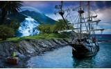 Fotobehang Papier Boot, Natuur | Blauw | 368x254cm